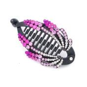 Pink Flower Czech Crystal Rhinestone Fish Claw