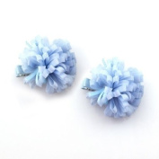 Blue Ribbons Hair Clips [Pair]