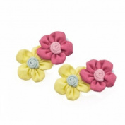 Yellow and Coral Flower Hair Clips [Pair]