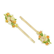 Gold Finish Colourful Flowers Hair Clips [Pair]