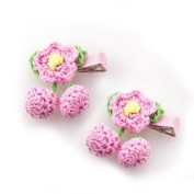 Pink Crocheted Floral Hair Clips [Pair]
