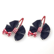 Navy Blue and Red Bows Bobby Hair Clips [Pair]