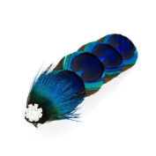Crystalmood Peacock Feather Hair Clip with Rhinestones