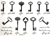 2012 Newest Halloween Christmas Treasure Chest Key 11 Style Key Temporary Tattoos