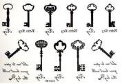 2012 Newest Halloween Christmas Treasure Chest Key 11 Style Key Temporary Tattoos