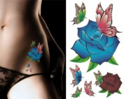 Sexy Lower Back, Shoulder, Neck, Arm Temporary Tattoos - Blue Roses & Butterfly Tattoo