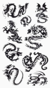 Lower Back, Shoulder, Neck, Arm Temporary Tattoos - Small Dragons
