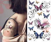Sexy Lower Back, Shoulder, Neck, Arm Temporary Tattoos - Elegant Butterflies Tattoo