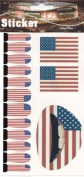 American Flag Temporary Lip Nail Tattoo Transfer Kit, USA Flag Tattoo