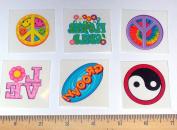 144 Retro Love Peace Groovy Temporary Tattoos