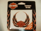 Harley Davidson Motorcyle Temporary Tattoo Belly Button with Eagle Wings