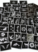 100 Adhesive Stencil, Glitter Tattoos or Face Painting