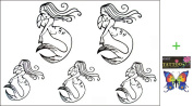 2012 latest new design hot selling Men and women waterproof temporary tattoo mermaid tattoo sticker