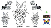 2012 latest new design new release Temporary Tattoo waterproof female black and white fairy roses tattoo stickers