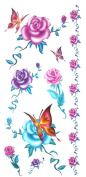GGSELL Temporary waterproof tattoo stickers coloured flowers and butterflies