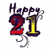 Happy 21 Birthday Temporary Tattoo Pack - 6 Precut Tattoos per Pack