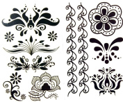 GGSELL latest LW hot selling 1 package with 2pcs waterproof black flower and vine temporary tattoos