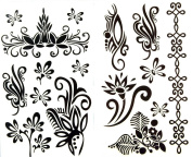 GGSELL latest LW hot selling 1 package with 2pcs waterproof black flower and vine totem fake tattoos