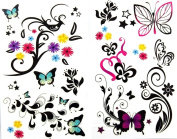GGSELL latest LW hot selling 1 package with 2pcs waterproof colourful flower butterfly temporary tattoos