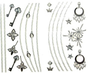 GGSELL latest LW hot selling 1 package with 2pcs waterproof jewellery pendant flower and key temporary tattoos