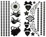 GGSELL latest LW hot selling 1 package with 2pcs waterproof jewellery swallow flower heart and star temporary tattoos