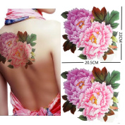 Extra large size pink peony flower temporary tattoos 22cm x20cm Inches