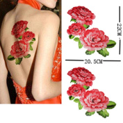 GGSELL Extra large size A4 size 21cm x 30cm waterproof peony temporary tattoos