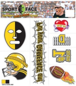 The Gameface Company Sport Face Tear and Share Gold Yellow and Black Team Temporary Tattoo Sticker