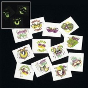 GLOW-IN-THE-DARK MARDI GRAS TATTOOS (6 DOZEN) - BULK
