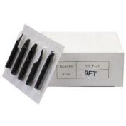 50Pcs Disposable Sterilised Tattoo Nozzle Tip Flat Tip - 2.7m