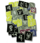 100 two layers of adhesive stencils for face painting, cleaning the air, or Glitter Tattoos!