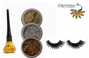 "ITAY Mineral Cosmetic 3 Stack Eye Shimmer ""Golden Peacock"" Kit (2.5g each) + ""Gold"" Liquid Eyeliner (0.12Fl.Oz) + Cala Fashion Eyelashes"