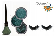 "ITAY Mineral Cosmetic 3 Stack Eye Shimmer ""Hillside Green"" Kit (2.5g each) + ""Shiny Green"" Liquid Eyeliner (0.12Fl.Oz) + Cala Fashion Eyelashes"