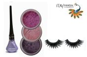 "ITAY Mineral Cosmetic 3 Stack Eye Shimmer ""Lilac"" Kit (2.5g each) + ""Violet Pearl"" Liquid Eyeliner (0.12Fl.Oz) + Cala Fashion Eyelashes"