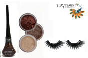 "ITAY Mineral Cosmetic 3 Stack Eye Shimmer ""Nature Beauty"" Kit (2.5g each) + ""Brown"" Liquid Eyeliner (0.12Fl.Oz) + Cala Fashion Eyelashes"
