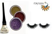 "ITAY Mineral Cosmetic 3 Stack Eye Shimmer ""Paris Lights"" Kit (2.5g each) + ""White Pearl"" Liquid Eyeliner (0.12Fl.Oz) + Cala Fashion Eyelashes"