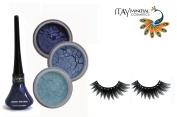 "ITAY Mineral Eye Shimmers ""Ocean Wave"" Kit (2.5g each) + Dark Blue Liquid Eyeliner (0.12Fl.Oz) + Cala Eyelashes"
