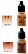 Airbrush Makeup Foundation Satin S13 Soft Walnut and S15 Summer Bronze Water-based Makeup Long Lasting All Day Without Smearing Running, Fading or Caking 5ml Bottle By Glam Air
