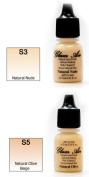 Airbrush Makeup Foundation Satin S3 Natural Nude and S5 Natural Olive Beige Water-based Makeup Long Lasting All Day Without Smearing Running, Fading or Caking 5ml Bottle By Glam Air