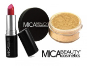 MicaBeauty Mineral Loose Powder Foundation 9gr MF6-Cream Caramel + Moisturising Shimmer Lipstick 12C + Aviva Small Snow Man Nail Shiner