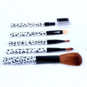 Ostart 5 Pcs Cosmetic Makeup Tool Brush Kit Travel Set - White