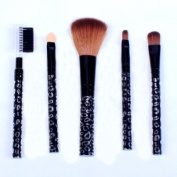 Ostart 5 Pcs Cosmetic Makeup Tool Brush Kit Travel Set - Black