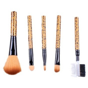 Ostart 5 Pcs Sexy Leopard Stripes Cosmetic Makeup Tool Brush Kit Travel Set