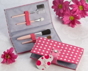 Pretty in Pink Polka Dot Makeup Brush Kit - Bridal Wedding Shower Favours - Keepsake Guest Favours