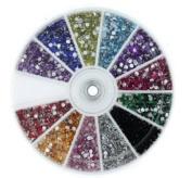 12 Colour 2400pcs New Nail Art Rhinestones Glitters Acrylic Tips Decoration Manicure Wheel