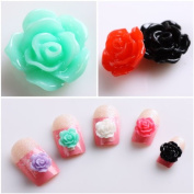 350buy 20pcs New Colourful Acrylic 3D Rose Flower Slices UV Gel Nail Art Tips DIY Decorations