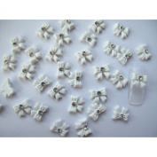 350buy Nail Art 3d 20 Piece White BOW TIE /RHINESTONE for Nails, Cellphones 1.1cm