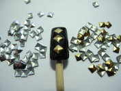 Nail Art 270 Pieces Gold & Silver 4mm Square Metal Studs for Nails, Cellphones