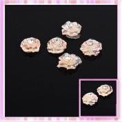 Orange Glitter Rose Get With Rhinestones Design Nail Art Sticker Decoration 5Pcs B0172