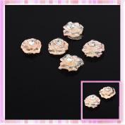 Orange Glitter Rose Get With Rhinestones Design Nail Art Sticker Decoration 5Pcs B0172